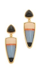 Lizzie Fortunato Lola Stripe Earrings Gold Onyx Multi