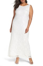 Pisarro Nights Plus Size Women's Embellished Lace Gown Ivory