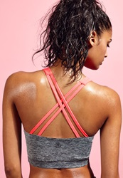 Missguided Cross Back Sports Bra Coral
