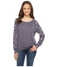 Alternative Apparel Slouchy Pullover Eco True Navy Stars Women's Sweatshirt Gray