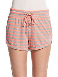 Saks Fifth Avenue Red Striped Cutaway Shorts Pink Grey