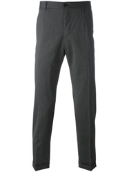 Dolce And Gabbana Tailored Turn Up Trousers Grey