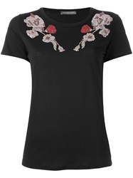Alexander Mcqueen Floral Embroidered T Shirt Black