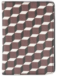 Pierre Hardy Geometric Print Passport Holder Leather Red
