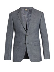 Burberry Notch Lapel Single Breasted Wool Blend Blazer Blue