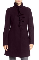 Tahari Women's 'Kate' Ruffle Collar Wool Blend Coat Merlot