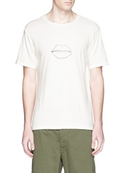 Rag And Bone 'Lips' Print Cotton Slub Jersey T Shirt White