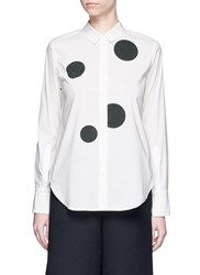 Kuho Polka Dot Print Cotton Blend Shirt White