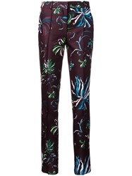 Emilio Pucci Floral Print Slim Fit Trousers Brown