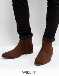 Asos Wide Fit Chelsea Boots In Brown Faux Suede Brown