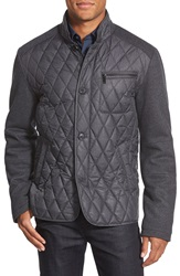 7 For All Mankind Mixed Media Diamond Quilted Jacket Charcoal