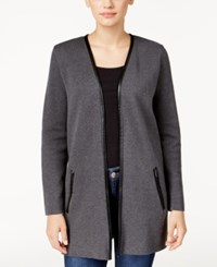 Charter Club Petite Faux Leather Trim Cardigan Only At Macy's Charcoal Heather
