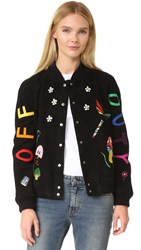 Mira Mikati Suede Patched Bomber Black