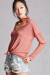 Forever 21 Choker Neck French Terry Top