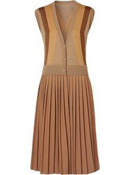 Burberry Sleeveless Knitted Wool V Neck Dress Brown