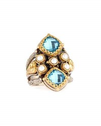 Konstantino Amphitrite Double Cushion Topaz And Pearl Statement Ring Blue
