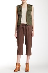 Allen Allen Drawstring Linen Crop Pant Brown