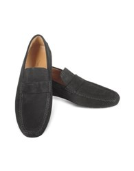 Moreschi Portofino Black Perforated Suede Driver Shoes
