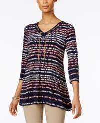 Jm Collection Printed Lace Up Tunic Only At Macy's Pebble Beach