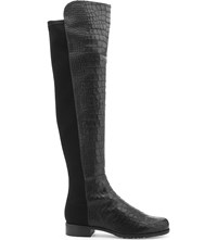 Stuart Weitzman 5050 Crocodile Embossed Leather Over The Knee Boots Black