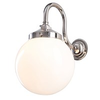 Old School Electric Opal Globe Wall Light Polished Nickel
