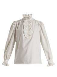 Stella Mccartney Meredith Ruffle Trimmed Cotton Poplin Blouse White