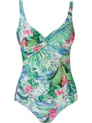 Lygia And Nanny Foliage Print Open Back Swimsuit Green