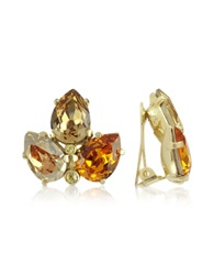 A Z Collection Amber Crystal Clip On Earrings Gold