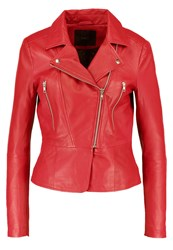 Y.A.S Yas Yasayo Leather Jacket Racing Red