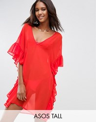 Asos Tall Beach Cover Up With Frill Orange