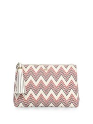 Melissa Odabash Zig Zag Cotton And Leather Pouch