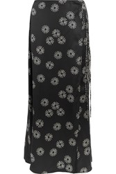 Keji Printed Wrap Effect Hammered Silk Maxi Skirt Black