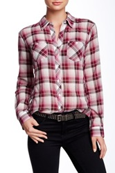 Sandra Ingrish Crinkle Plaid Shirt Pink