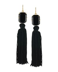 Trina Turk Stone And Tassel Drop Earrings Black Gold