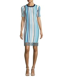Milly Vertical Striped Short Sleeve Dress With Fringe Multi
