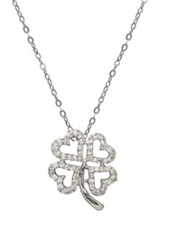 Lord And Taylor 14K White Gold Diamond Clover Pendant Necklace Diamond White Gold
