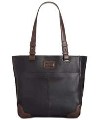 Tignanello Western Vintage Leather Tote Black Dark Brown