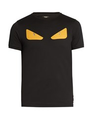 Fendi Bag Bugs Applique Cotton Jersey T Shirt Black
