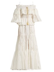 Roberto Cavalli Floral Devore Tiered Ruffled Cotton Blend Gown White