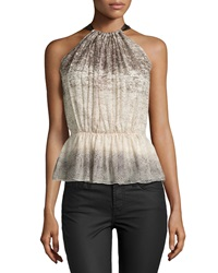 Philosophy Di Alberta Ferretti Printed Ruched Peplum Blouse Brown Multi