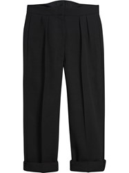 Burberry Wool Silk Cropped Tailored Trousers Black