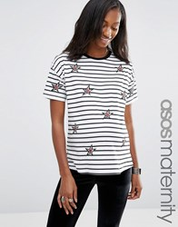 Asos Maternity T Shirt With Star Badges And Stripe Multi