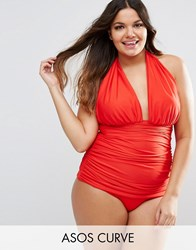 Asos Curve Ruched Halter Swimsuit Red Carpet