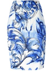 Versace Collection Printed Pencil Skirt White