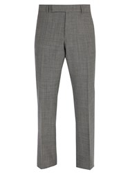Dunhill Mid Rise Prince Of Wale Checked Wool Trousers Grey