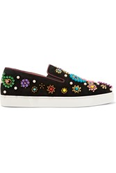 Christian Louboutin Boat Candy 20 Embellished Suede Sneakers Black