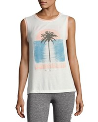 Spiritual Gangster Sunkissed Palm Chakra Muscle Tank White White Pattern