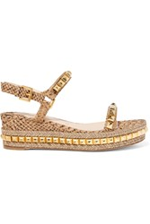 Christian Louboutin Cataclou 60 Studded Snake Effect Cork Platform Sandals Gold