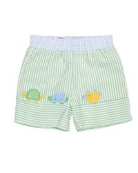 Florence Eiseman Stripe Seersucker Turtle Swim Trunks White Green