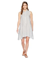Dylan By True Grit Classic Stripe Shirred Sleeveless Shirt Dress With Lining And Pockets Grey White Gray